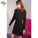 Dress Autumn of 2018 510 black XS S M L XL Mid length dress singleton  Long sleeves commute One word collar middle-waisted Solid color zipper other routine Others 25-29 years old Type H Lily / Lily Ol style zipper More than 95% other polyester fiber Polyester 100%