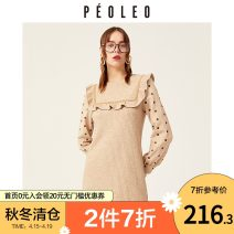 Dress Winter 2020 coffee 36/S/160 38/M/165 40/L/170 Middle-skirt Fake two pieces Long sleeves commute Crew neck Elastic waist Socket other routine 25-29 years old Type H Peoleo / piaoyei Ol style 30% and below polyester fiber Same model in shopping mall (sold online and offline)