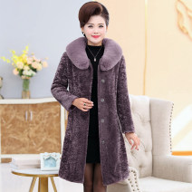 Middle aged and old women's wear Winter of 2019 fashion Jacket / jacket easy singleton  Solid color 40-49 years old Cardigan thickening Polo collar Medium length routine Ge Xiang chess pocket other Other 100% 96% and above Same model in shopping mall (sold online and offline) Single breasted
