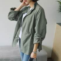 short coat Spring 2020 Single size Khaki green, carbon Long sleeves routine routine singleton  easy Versatile routine stand collar Single breasted Solid color 96% and above polyester fiber polyester fiber