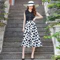 skirt Summer of 2019 S M L XL XXL Black wave point Summer Black wave point spring Mid length dress High waist A-line skirt Dot Type A F9901 Feng Lingfei zipper Pure e-commerce (online only)