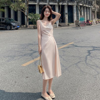 Dress Summer 2021 Black, green, apricot pink S,M,L,XL,2XL Mid length dress singleton  Sleeveless commute V-neck High waist Solid color Socket A-line skirt camisole 18-24 years old Type A Korean version