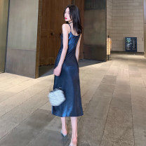 Dress Summer 2021 Navy blue, apricot white S,M,L longuette singleton  Sleeveless commute V-neck High waist Solid color Socket A-line skirt camisole 18-24 years old Type A Korean version