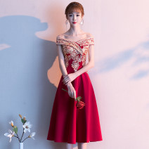 Dress / evening wear Weddings, adulthood parties, company annual meetings, daily appointments S M L XL XXL Korean version Medium length middle-waisted Summer of 2019 Self cultivation One shoulder zipper 18-25 years old Short sleeve Embroidery Solid color Rose yarn Wrap sleeves Other 100% other