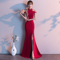 Dress / evening wear Weddings, adulthood parties, company annual meeting, performance date S M L XL XXL Burgundy Red Korean version longuette middle-waisted Winter of 2019 fish tail stand collar zipper 18-25 years old MGS19294 Short sleeve Embroidery Solid color Rose yarn Wrap sleeves Other 100%