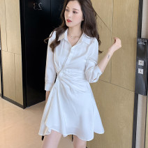 shirt White black S M L XL Spring 2021 other 96% and above Long sleeves commute Medium length Polo collar Single row multi button shirt sleeve Solid color 18-24 years old Straight cylinder Green as snow Korean version A1417 Asymmetric button Other 100% Pure e-commerce (online only)