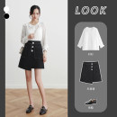 skirt Autumn of 2019 XS S M L XL 2XL black Short skirt commute High waist A-line skirt Solid color Type A 25-29 years old eul-2997 More than 95% EUL polyester fiber Korean version Polyester 100% Pure e-commerce (online only)