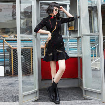 cheongsam Winter 2020 S M L XL XXL Long sleeves Short cheongsam Retro No slits daily Oblique lapel Animal design 18-25 years old Embroidery Yu Qingke other Other 100% Pure e-commerce (online only)