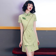 cheongsam Summer 2021 S M L XL XXL Green tea embroidery Short sleeve Short cheongsam Retro Low slit daily Oblique lapel lattice 18-25 years old Embroidery YQK0418 Yu Qingke other Other 100% Pure e-commerce (online only)