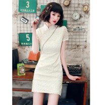 cheongsam Spring 2021 S M L XL XXL White floret Short sleeve Short cheongsam Retro Low slit daily Oblique lapel Solid color 18-25 years old Embroidery YQK0400 Yu Qingke other Other 100% Pure e-commerce (online only)