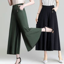 Casual pants Brick red [skirt], black [skirt], green [skirt], green [no pocket, no pendant] L 80-110kg, XL 110-130kg, 2XL 130-150kg, 3XL 150-180kg Spring 2020 Ninth pants Wide leg pants High waist Thin money Mehhkeby / Meike