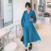 Dress Summer 2021 Sea blue S M L XL Mid length dress singleton  Long sleeves commute V-neck High waist Solid color Single breasted A-line skirt puff sleeve 25-29 years old Type A Yunweiyi Korean version 083- 826 More than 95% polyester fiber 100.00% polyester
