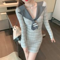 Dress Winter 2020 Picture color Average size Short skirt singleton  Long sleeves commute V-neck lattice Socket routine 18-24 years old Other 333-1 More than 95% other