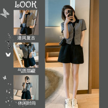 Women's large Summer 2021 Polo short sleeve T-shirt + wide leg shorts two piece set [net red suit age reducing foreign style / Retro suit women's Hong Kong style / new women's 2021] Other oversize styles Two piece set commute easy thin Cardigan Short sleeve Solid color Korean version Polo collar