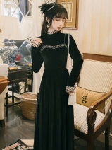 Dress Autumn 2020 black S,M,L,XL Mid length dress Fake two pieces Long sleeves commute stand collar High waist Solid color zipper A-line skirt pagoda sleeve Type A Retro Stitching, lace