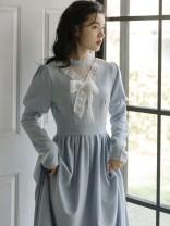 Dress Autumn 2021 wathet S,M,L longuette singleton  Long sleeves commute High waist Solid color Type A Retro