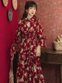 Dress Autumn 2020 Retro Red S,M,L Mid length dress singleton  Long sleeves commute Polo collar High waist Decor zipper pagoda sleeve Type A Retro Pleating