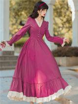 Dress Autumn 2021 rose red S,M,L longuette singleton  Long sleeves commute V-neck High waist Solid color Socket Big swing Type A Retro Chiffon