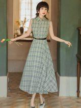 Dress Summer 2021 Plaid belt S,M,L,XL