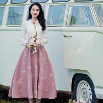 Dress Autumn 2021 S,M,L,XL longuette Long sleeves Doll Collar High waist