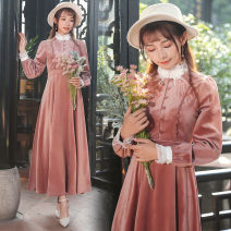 Dress Winter 2020 Graph color S,M,L,XL longuette Long sleeves stand collar High waist Big swing Embroidery