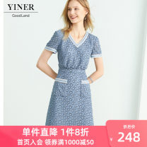 Dress Summer 2020 blue 155/36/S 160/38/M 165/40/L 170/42/XL 175/44/XXL 180/46/XXXL Middle-skirt singleton  Short sleeve commute V-neck Socket A-line skirt routine 30-34 years old Type X YINER GoodLand Ol style 8C50205510 71% (inclusive) - 80% (inclusive) nylon Pure e-commerce (online only)