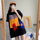 T-shirt White black M L XL Spring 2021 Short sleeve Crew neck easy Regular routine commute polyester fiber 51% (inclusive) - 70% (inclusive) 18-24 years old Korean version originality Color matching of letters Colorful Yuxin Patchwork Polyester 65% Cotton 30% polyurethane elastic fiber (spandex) 5%
