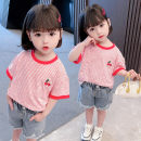 T-shirt Picture color Other / other 120cm,100cm,130cm,110cm,80cm,90cm female summer Short sleeve Crew neck leisure time There are models in the real shooting nothing cotton stripe Other 100% 12 months, 9 months, 18 months, 2 years old, 3 years old, 4 years old, 5 years old, 6 years old