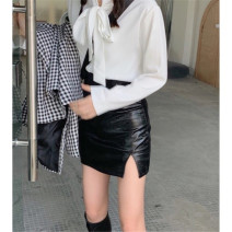 skirt Winter 2016 XS,S,M,L,F Black leather skirt [quality version], black leather skirt [inferior version] Short skirt commute High waist A-line skirt Solid color Type A 18-24 years old K200815 other other