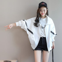 short coat Summer 2020 S M L XL white Long sleeves have cash less than that is registered in the accounts Thin money singleton  Bat type Bat sleeve zipper Solid color Hamuyou 96% and above Asymmetric zipper stitching other Other 100% Pure e-commerce (online only)