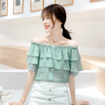 Lace / Chiffon Summer 2021 Matcha green S,M,L,XL,2XL Short sleeve commute Socket singleton  easy One word collar other pagoda sleeve 18-24 years old XM* Ruffle, fungus, print, Sequin, button Korean version 81% (inclusive) - 90% (inclusive)