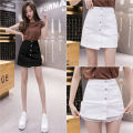 skirt Spring 2021 S,M,L,XL White, black Short skirt commute High waist A-line skirt Solid color Type A 18-24 years old 71% (inclusive) - 80% (inclusive) Denim cotton Button Korean version