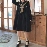 Dress Autumn 2020 Black (detachable butterfly), apricot (detachable butterfly) Average size Mid length dress singleton  Long sleeves Sweet Admiral High waist Solid color Socket other routine Others 18-24 years old Type A Bowknot, lace up, stitching solar system