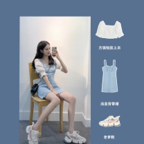 Women's large Summer 2020 Top + suspender skirt square neck top suspender dress XS S M L XL Dress Two piece set Sweet Short sleeve have cash less than that is registered in the accounts TZ20620dras Gu Jiafu 81% (inclusive) - 90% (inclusive) Short skirt Triacetate fiber (triacetate fiber) 100% Mori
