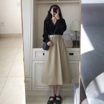Women's large Spring 2021 Single top single Skirt Top + skirt S M L XL Dress Two piece set commute easy Long sleeves Solid color Korean version V-neck routine polyester fiber routine Gu Jiafu 18-24 years old zipper longuette Cotton 100% Pure e-commerce (online only)