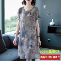 Dress Summer of 2019 L,XL,2XL,3XL,4XL Mid length dress singleton  Short sleeve commute Crew neck Loose waist Decor A-line skirt routine Others 40-49 years old Type A AI Yi she lady 3D, printing More than 95% silk