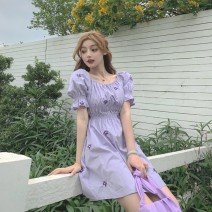Women's large Summer 2020 Little daisy with purple embroidery M [80-95 Jin], l [95-115 Jin], XL [115-130 Jin], 2XL [130-150 Jin], 3XL [150-170 Jin], 4XL [170-200 Jin] Dress singleton  commute Self cultivation thin Socket Short sleeve Solid color, broken flowers Retro square neck Medium length other