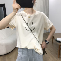 T-shirt Light apricot Brown S M L Summer 2021 Short sleeve Crew neck easy Regular routine commute other 96% and above 25-29 years old Korean version originality Geometric pattern dvdk DK71627 printing Other 100% Pure e-commerce (online only)