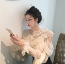 Lace / Chiffon Summer 2021 S M L XL Long sleeves commute Socket Two piece set easy have cash less than that is registered in the accounts V-neck Solid color puff sleeve 18-24 years old Flounce pleated mesh lace Retro 91% (inclusive) - 95% (inclusive) Other 100% polyester fiber