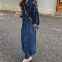 Dress Autumn 2020 Retro Blue S M L longuette singleton  Long sleeves commute Polo collar Loose waist Solid color Single breasted One pace skirt routine 25-29 years old Type H lfOa Retro pocket L10792F More than 95% Denim other Other 100% Pure e-commerce (online only)