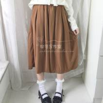 skirt Autumn of 2019 Average size Middle-skirt Versatile Natural waist A-line skirt Solid color Type A
