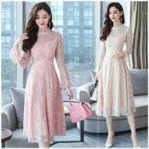 Dress Spring of 2019 Apricot, pink, black S,M,L,XL longuette singleton  Long sleeves commute stand collar High waist Solid color Socket Big swing pagoda sleeve Others 25-29 years old Other / other Gouhua, hollowed out, zipper, lace More than 95% Lace polyester fiber