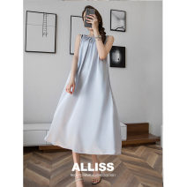 Dress Summer 2021 Black grey blue S M L longuette Sleeveless commute Crew neck High waist Solid color Socket A-line skirt routine 25-29 years old Type A ALLISSCOCO Frenulum MD031431-02-136.94 More than 95% other Triacetate fiber (triacetate fiber) 100%