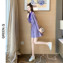 Dress Autumn 2020 violet S M L XL Short skirt singleton  Long sleeves commute Polo collar High waist stripe Single breasted A-line skirt shirt sleeve Others 30-34 years old Green Rose Korean version Lace up stitching L20025 More than 95% other Other 100% Pure e-commerce (online only)