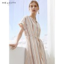 Dress Summer of 2019 Wide stripe group on white background 155/80A 160/84A 165/88A 170/92A longuette singleton  Short sleeve commute V-neck middle-waisted stripe Socket other routine Others 25-29 years old Type H Me&City lady More than 95% other polyester fiber Polyester 100%