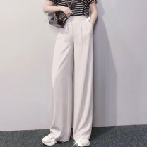 Casual pants White black Caramel clear blue grey XS/1 S/2 M/3 L/4 XL/5 Spring 2021 trousers Wide leg pants High waist commute routine 5100261-2062811-001 Manetti Korean version pocket Acetate 78.6% polyester 21.4% Pure e-commerce (online only)