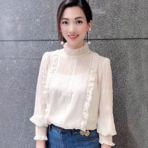 Lace / Chiffon Spring 2021 White light blue S/2 M/3 L/4 XL/5 Long sleeves commute Cardigan singleton  Straight cylinder Regular Lotus leaf collar Solid color puff sleeve Manetti 1300388-1104471-001 Flounce cut-out pleated embroidery pleated Auricularia hook cut-out mesh lace 96% and above