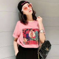 T-shirt Pink S/2 M/3 L/4 XL/5 Spring 2021 Short sleeve Crew neck easy Regular routine commute cotton 96% and above 30-34 years old Korean version originality letter Manetti 5300393-42040AL-001 Cotton 100% Pure e-commerce (online only)