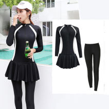 one piece  Mufeiyang With chest pad without steel support Skirt one piece Nylon, spandex, polyester, others 6788+ Long sleeves female Casual swimsuit Solid color M,L,XL,XXL,4XL,XXXL 678867896788 + pants, children's (girls)