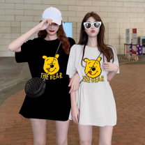 T-shirt M L XL XXL Summer 2020 Short sleeve Crew neck easy Regular routine commute Lycra Lycra 30% and below 18-24 years old Korean version originality Cartoon geometric pattern letter character Power bestow Mici30 medium and long printing